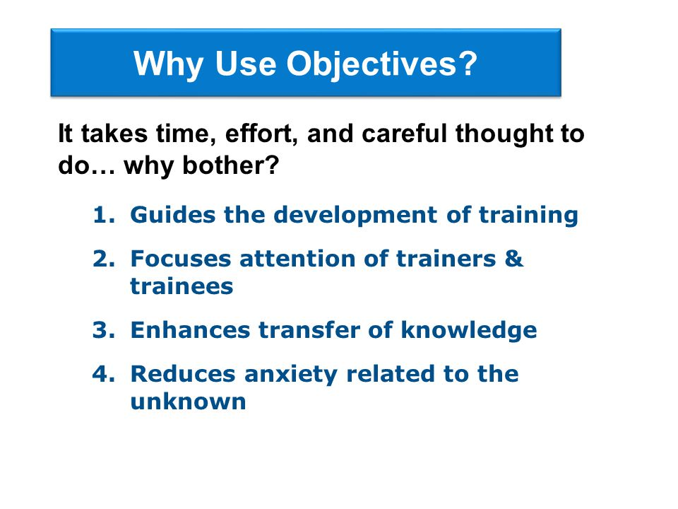 Conditions Example from selection interviewing After the completion of training, using notes developed from the Camp, et al.