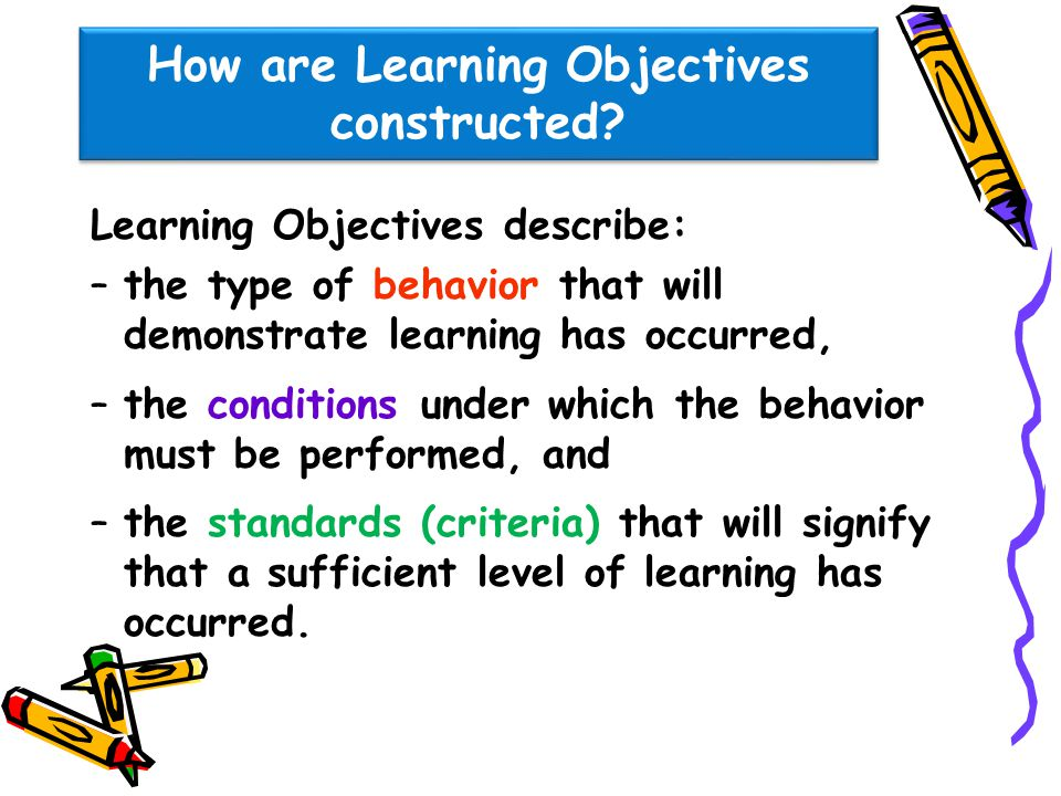 How are Learning Objectives constructed? Learning Objectives describe: –the type of behavior that will demonstrate learning has occurred, –the conditi