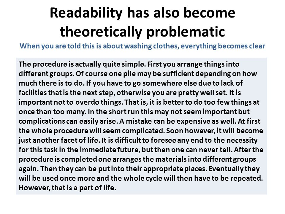 Readability has also become theoretically problematic The procedure is actually quite simple.