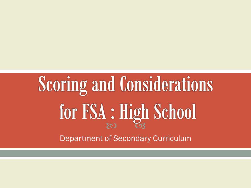  Department of Secondary Curriculum