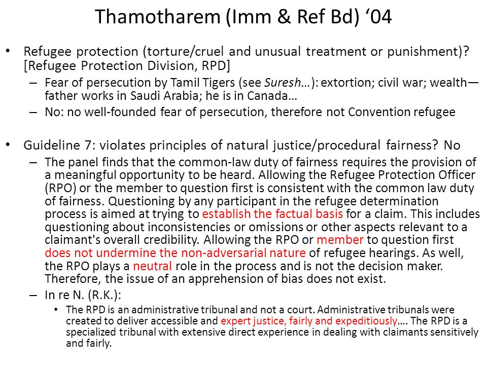 Thamotharem (Imm & Ref Bd) '04 Refugee protection (torture/cruel and unusual treatment or punishment).