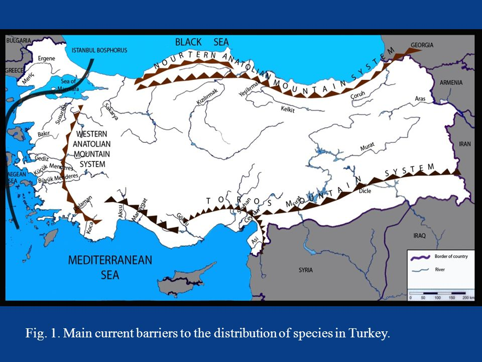 Fig. 1. Main current barriers to the distribution of species in Turkey.