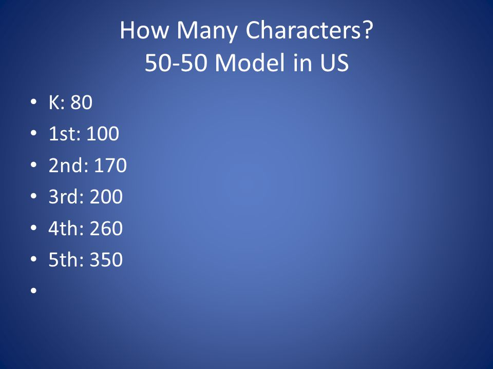 How Many Characters? 50-50 Model in US K: 80 1st: 100 2nd: 170 3rd: 200 4th: 260 5th: 350