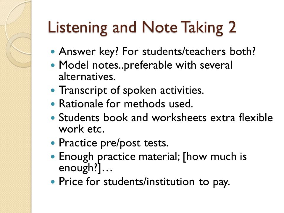 Listening and Note Taking 2 Answer key. For students/teachers both.