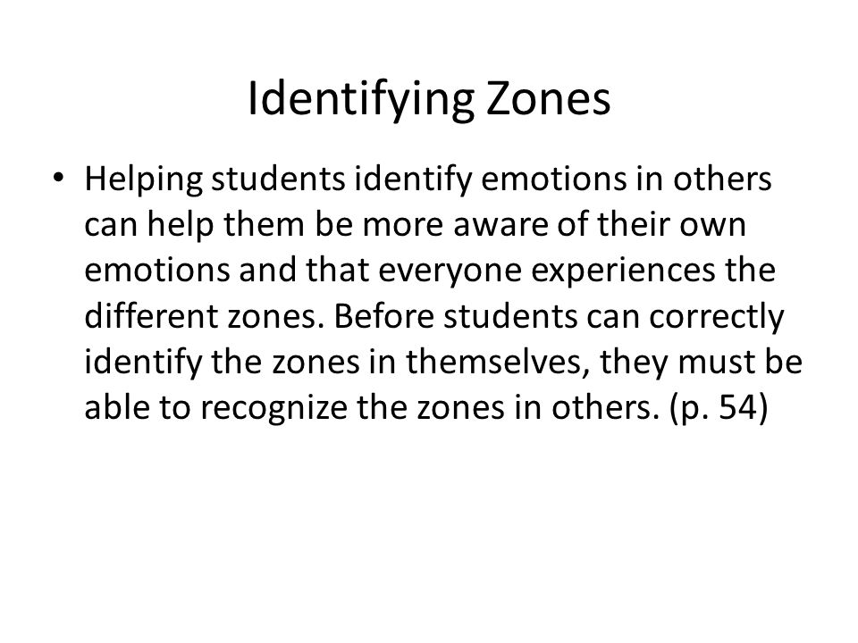 Identifying Zones Helping students identify emotions in others can help them be more aware of their own emotions and that everyone experiences the different zones.
