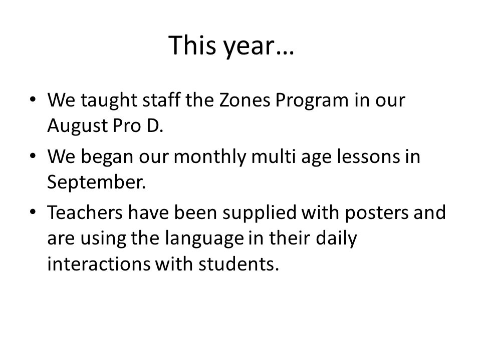 This year… We taught staff the Zones Program in our August Pro D.