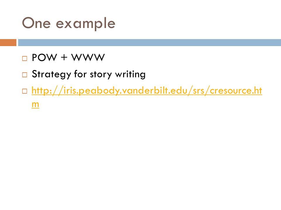 One example  POW + WWW  Strategy for story writing  http://iris.peabody.vanderbilt.edu/srs/cresource.ht m http://iris.peabody.vanderbilt.edu/srs/cr