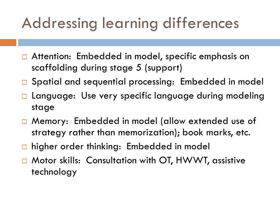 Addressing learning differences  Attention: Embedded in model, specific emphasis on scaffolding during stage 5 (support)  Spatial and sequential pro
