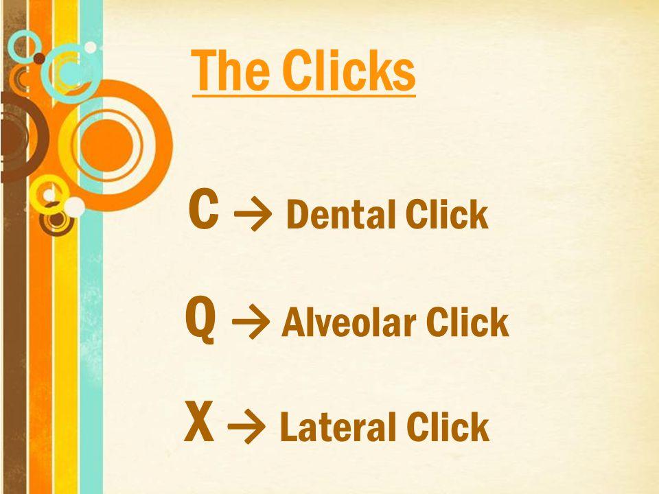 C → Dental Click Q → Alveolar Click X → Lateral Click The Clicks