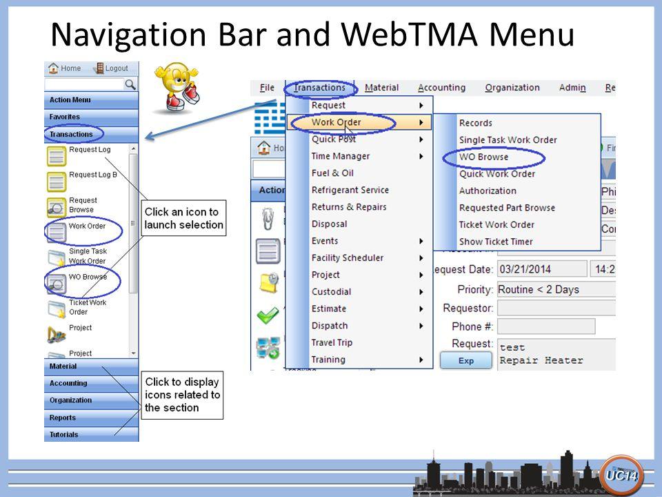 Navigation Bar and WebTMA Menu