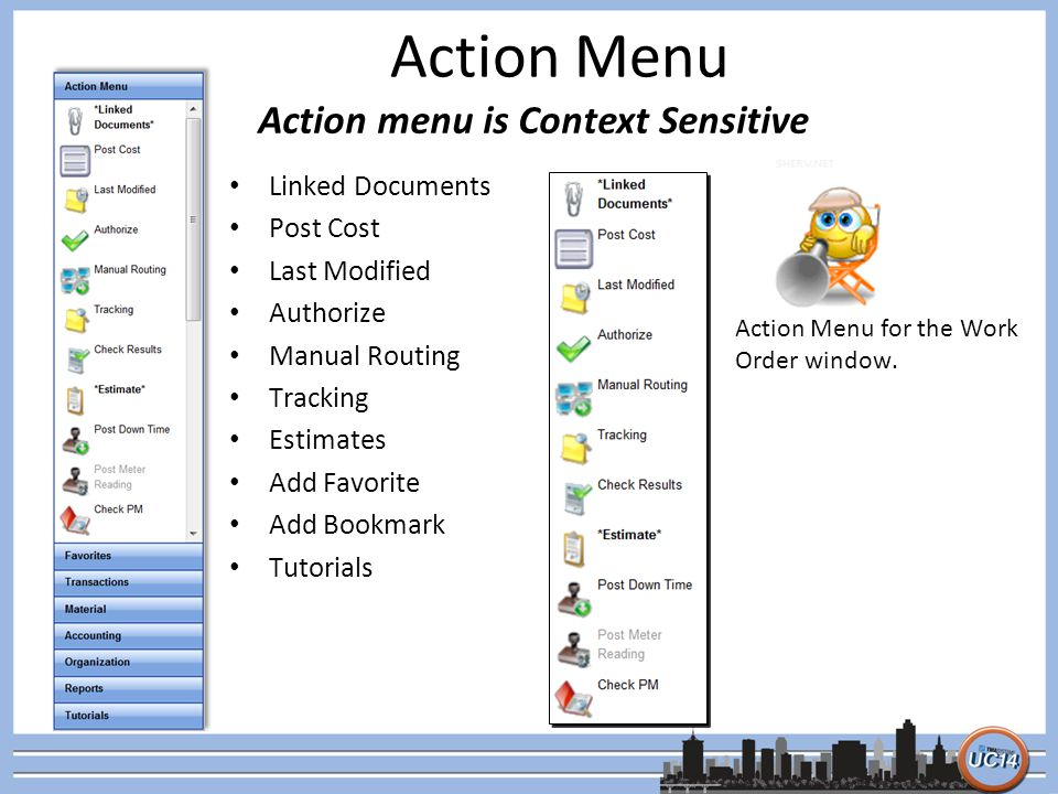 Action Menu Linked Documents Post Cost Last Modified Authorize Manual Routing Tracking Estimates Add Favorite Add Bookmark Tutorials Action menu is Co