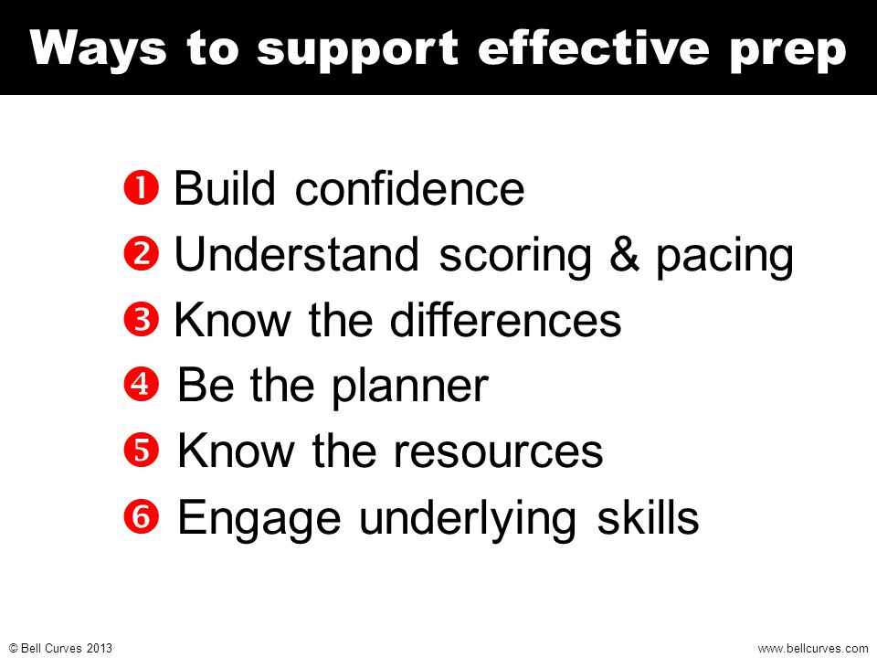 www.bellcurves.com © Bell Curves 2013 Ways to support effective prep  Build confidence  Understand scoring & pacing  Know the differences  Be the planner  Know the resources  Engage underlying skills