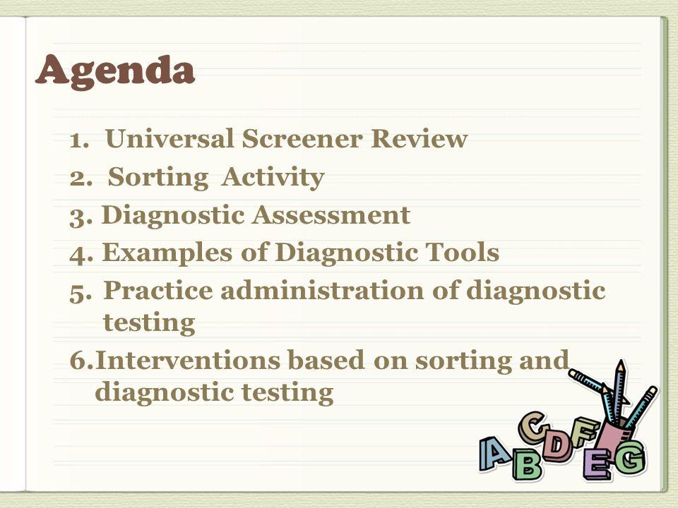 1. Universal Screener Review 2. Sorting Activity 3.