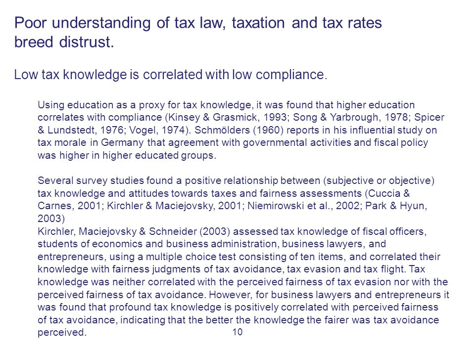 10 Poor understanding of tax law, taxation and tax rates breed distrust.