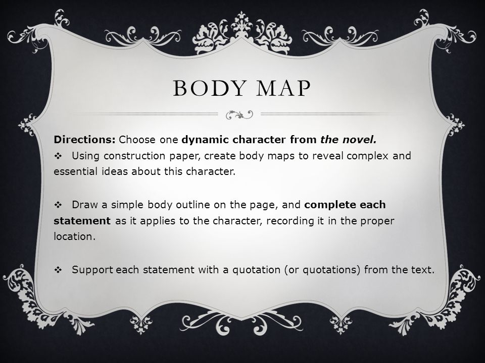 BODY MAP Directions: Choose one dynamic character from the novel.