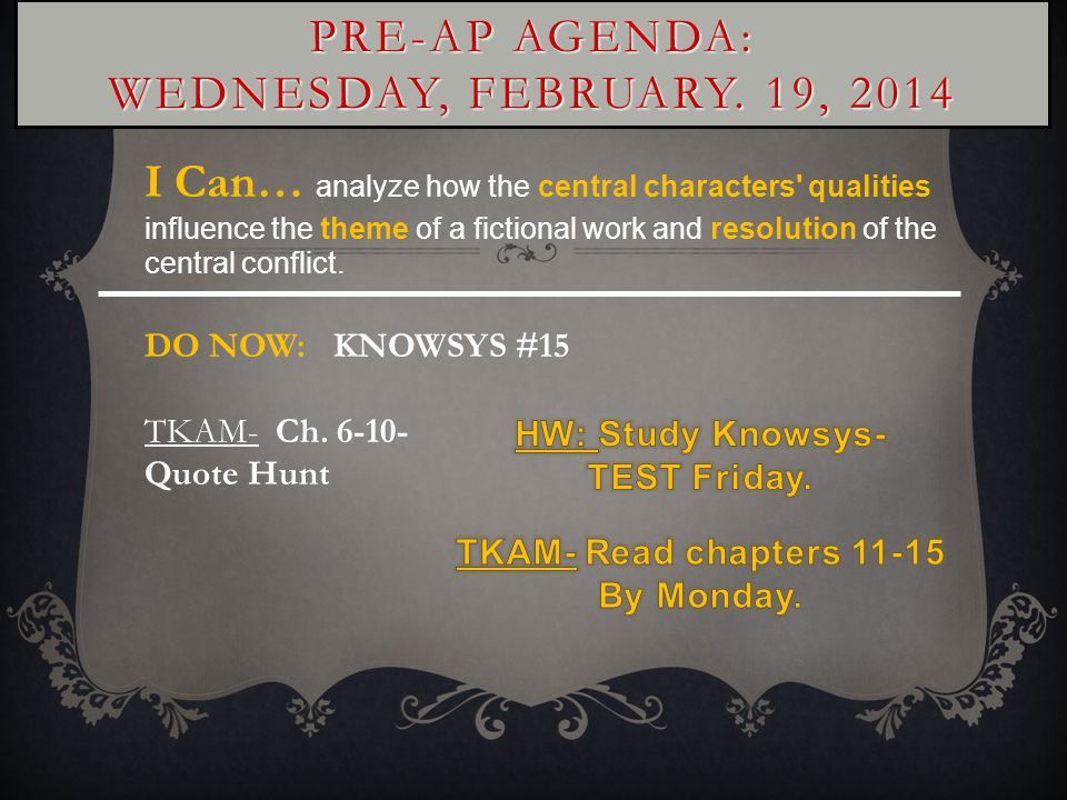 PRE-AP AGENDA: WEDNESDAY, FEBRUARY.