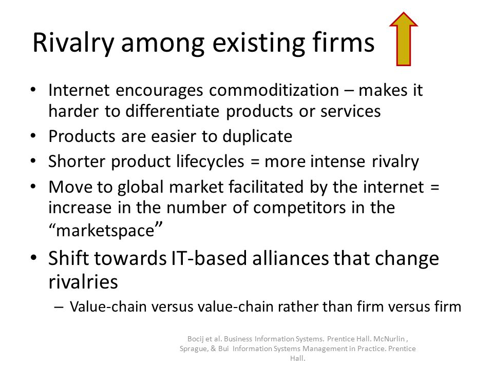 Rivalry among existing firms Internet encourages commoditization – makes it harder to differentiate products or services Products are easier to duplicate Shorter product lifecycles = more intense rivalry Move to global market facilitated by the internet = increase in the number of competitors in the marketspace Shift towards IT-based alliances that change rivalries – Value-chain versus value-chain rather than firm versus firm Bocij et al.
