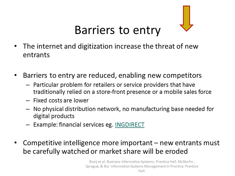 Barriers to entry The internet and digitization increase the threat of new entrants Barriers to entry are reduced, enabling new competitors – Particul