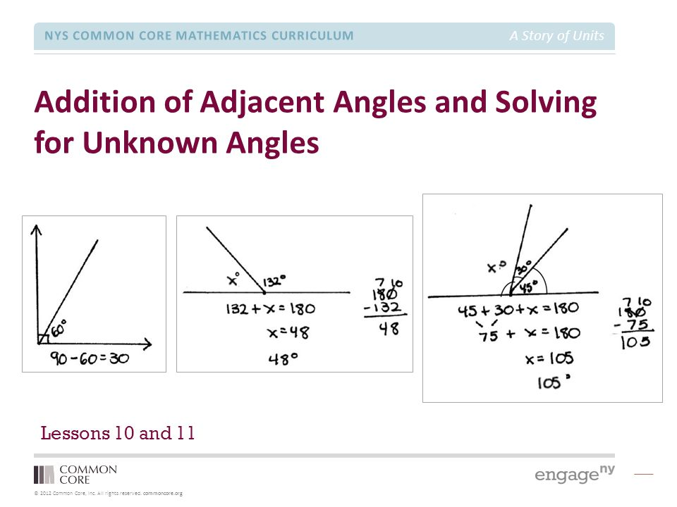 © 2012 Common Core, Inc. All rights reserved. commoncore.org NYS COMMON CORE MATHEMATICS CURRICULUM A Story of Units Addition of Adjacent Angles and S