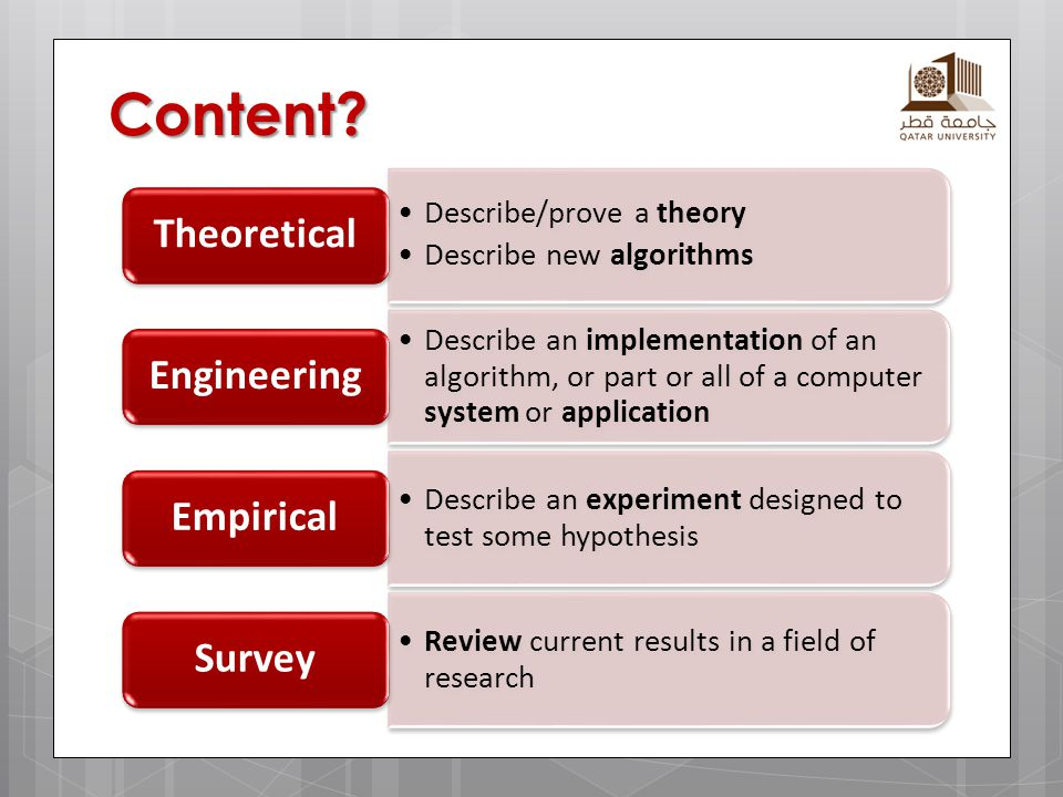 Content? Describe/prove a theory Describe new algorithms Theoretical Describe an implementation of an algorithm, or part or all of a computer system o