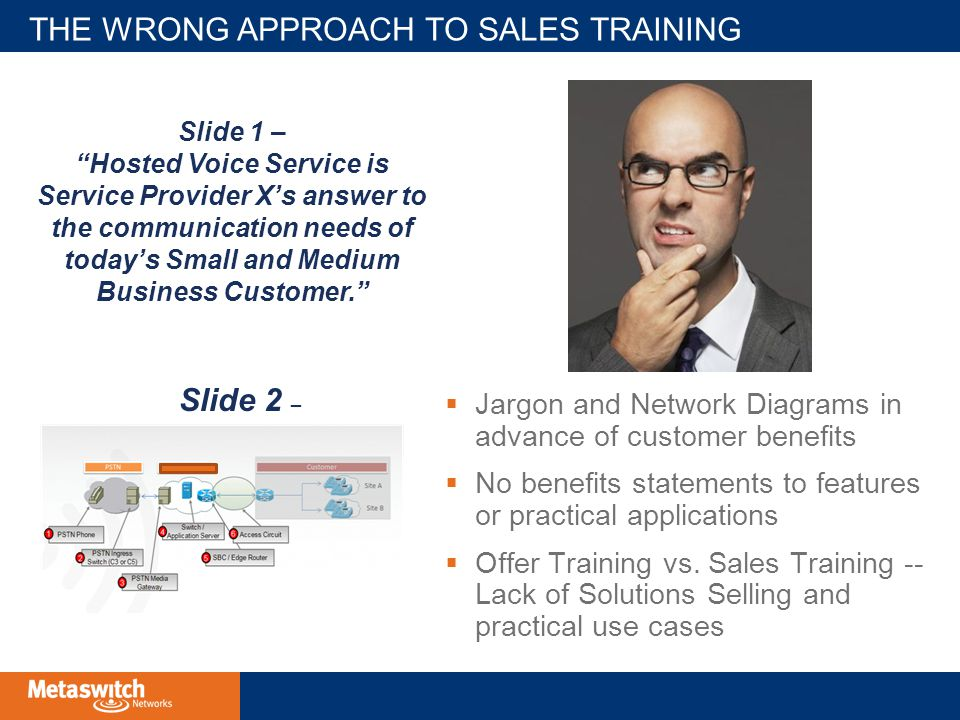 THE WRONG APPROACH TO SALES TRAINING  Jargon and Network Diagrams in advance of customer benefits  No benefits statements to features or practical applications  Offer Training vs.