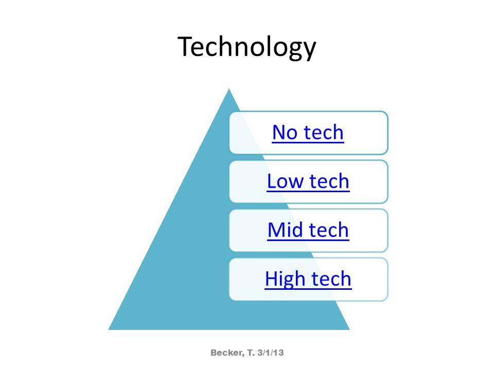 Technology No techLow techMid techHigh tech Becker, T. 3/1/13