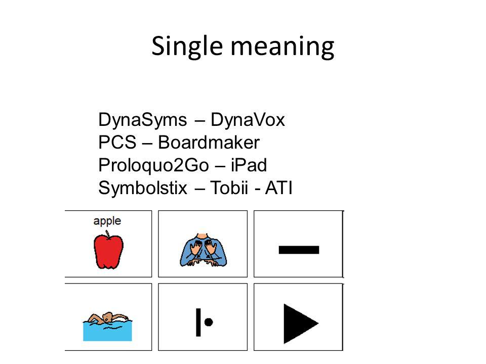 Single meaning DynaSyms – DynaVox PCS – Boardmaker Proloquo2Go – iPad Symbolstix – Tobii - ATI
