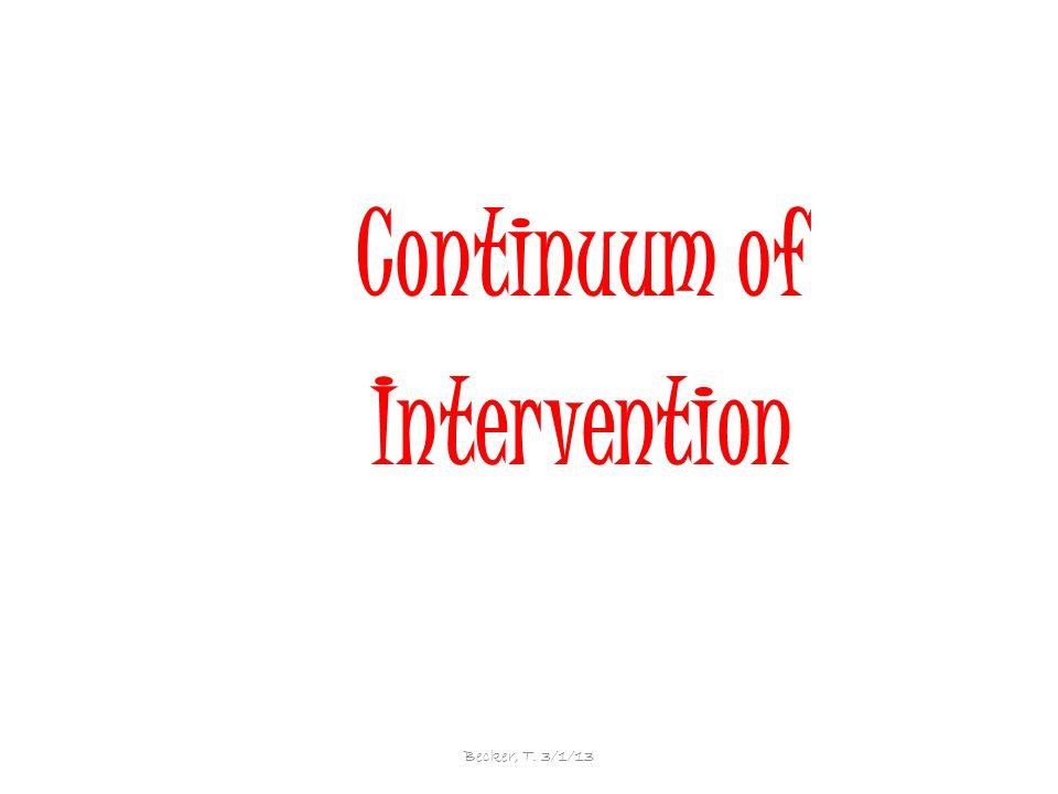 Continuum of Intervention Becker, T. 3/1/13