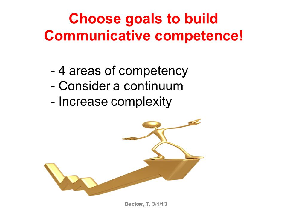 Choose goals to build Communicative competence.
