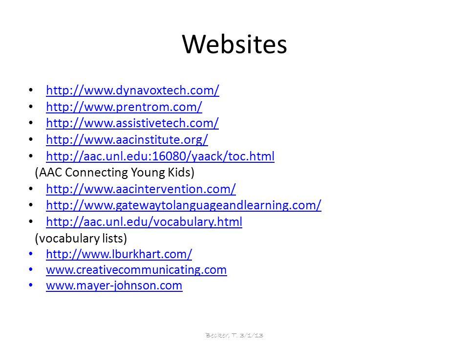 Websites http://www.dynavoxtech.com/ http://www.prentrom.com/ http://www.assistivetech.com/ http://www.aacinstitute.org/ http://aac.unl.edu:16080/yaac