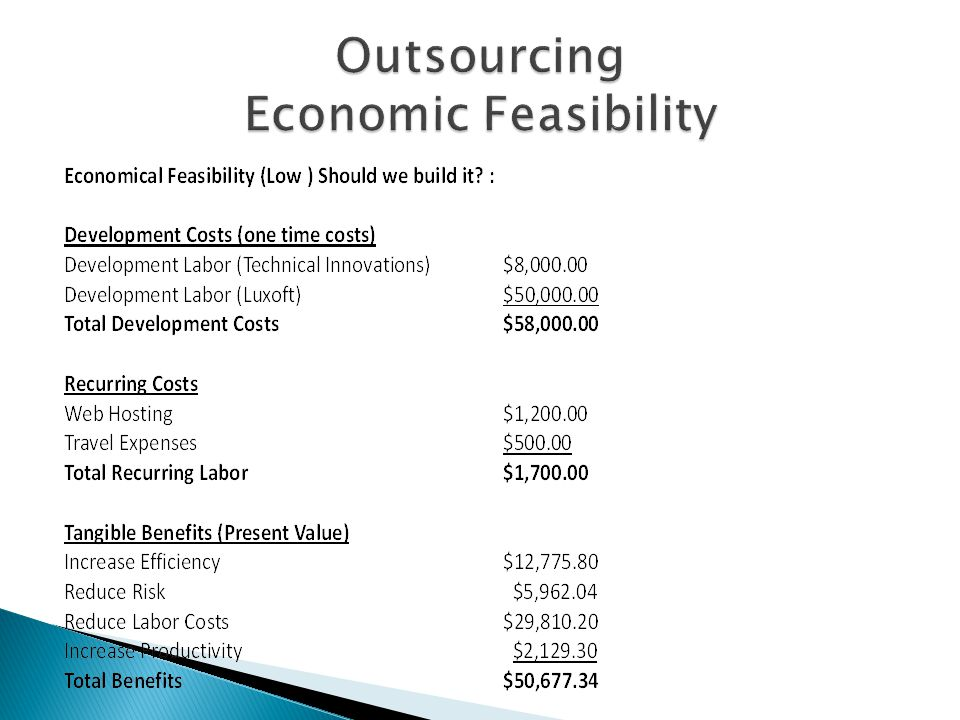 Outsourcing Economic Feasibility