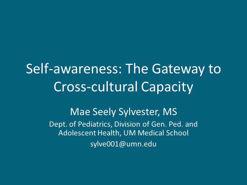 Self-awareness: The Gateway to Cross-cultural Capacity Mae Seely Sylvester, MS Dept.