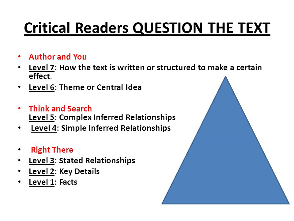 Critical Readers QUESTION THE TEXT Author and You Level 7: How the text is written or structured to make a certain effect.