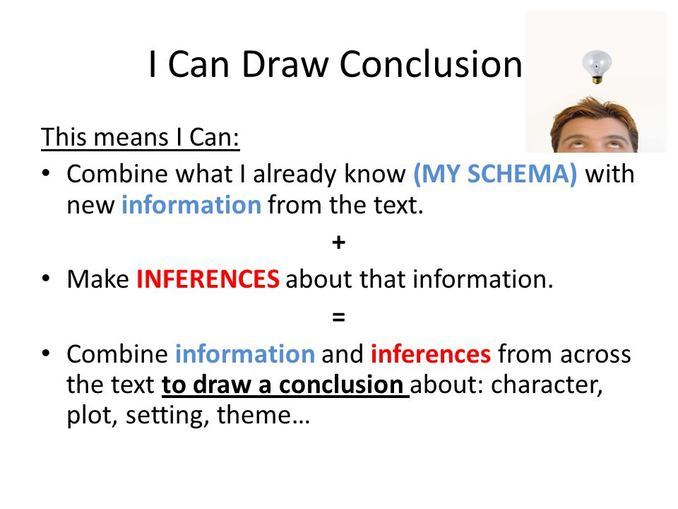 I Can Draw Conclusions This means I Can: Combine what I already know (MY SCHEMA) with new information from the text. + Make INFERENCES about that info