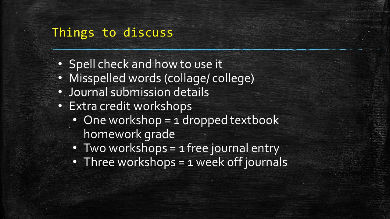 Things to discuss Spell check and how to use it Misspelled words (collage/ college) Journal submission details Extra credit workshops One workshop = 1