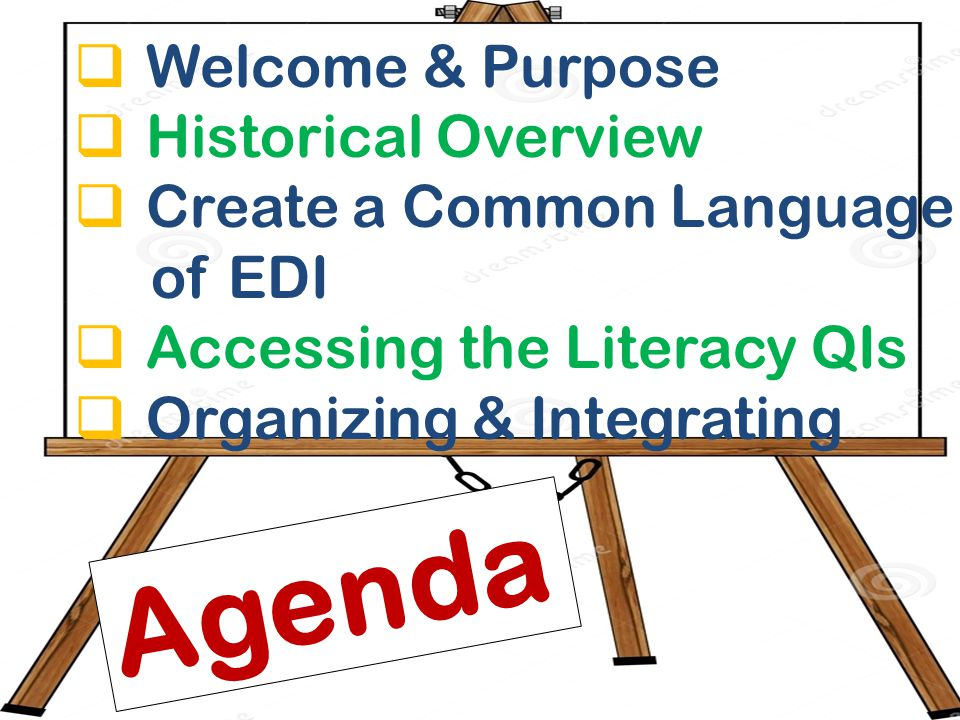  Welcome & Purpose  Historical Overview  Create a Common Language of EDI  Accessing the Literacy QIs  Organizing & Integrating Agenda