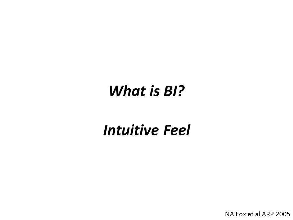 What is BI? Intuitive Feel NA Fox et al ARP 2005