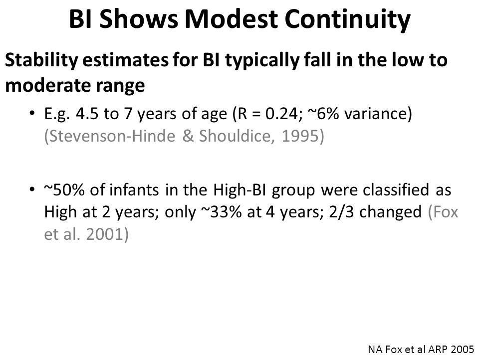 BI Shows Modest Continuity Stability estimates for BI typically fall in the low to moderate range E.g.