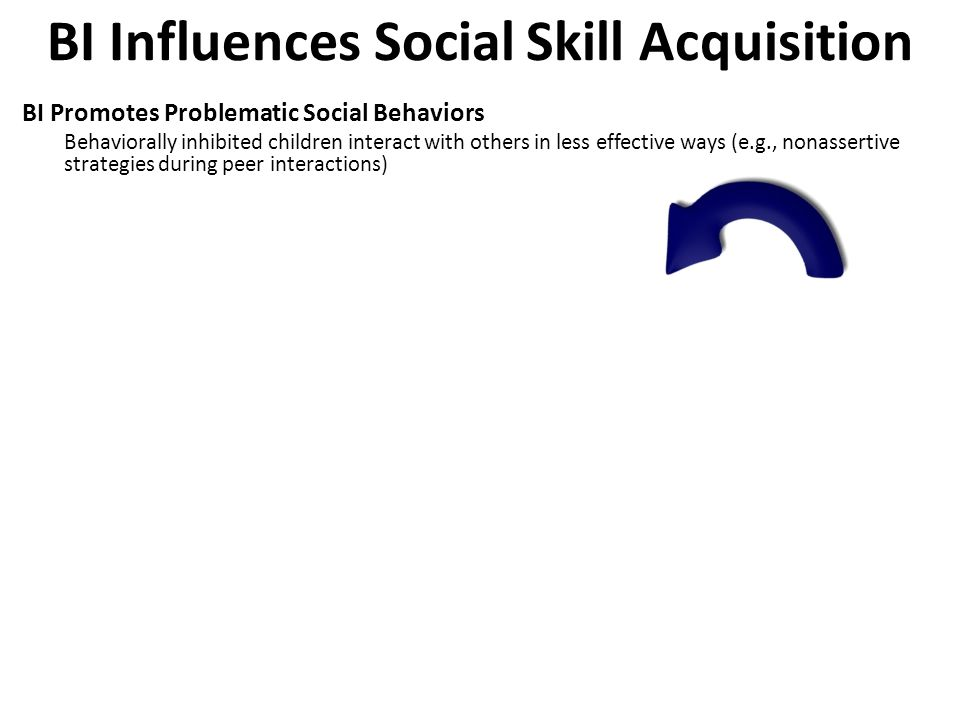 BI Influences Social Skill Acquisition BI Promotes Problematic Social Behaviors Behaviorally inhibited children interact with others in less effective ways (e.g., nonassertive strategies during peer interactions) BI Predicts Worse Social Outcomes More likely to have their requests refused Leads to poorer quality peer relationships Makes it more and more challenging for BI kids to - learn social skills - forge strong social relationships with new people (develop new social networks among peers, friends, schoolmates and ultimately dorm-mates, colleagues, and co-workers) These kinds of social exchange / social interaction mechanisms may underlie the association between BI and psychopathology Extreme BI  Aberrant Social Skills/Peer Relations  Psychopathology
