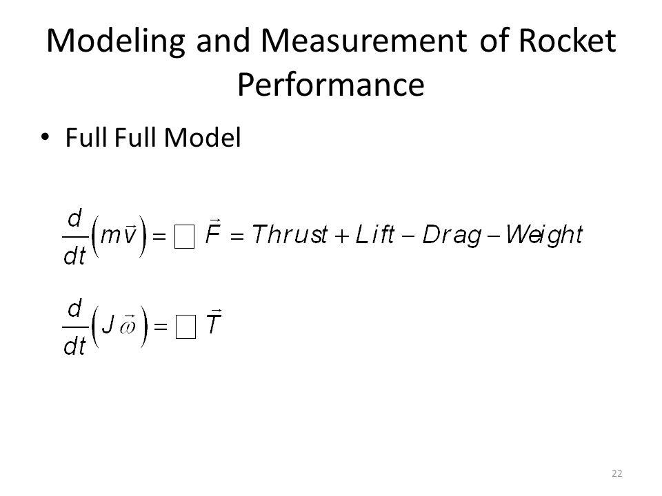 Modeling and Measurement of Rocket Performance Full Full Model 22