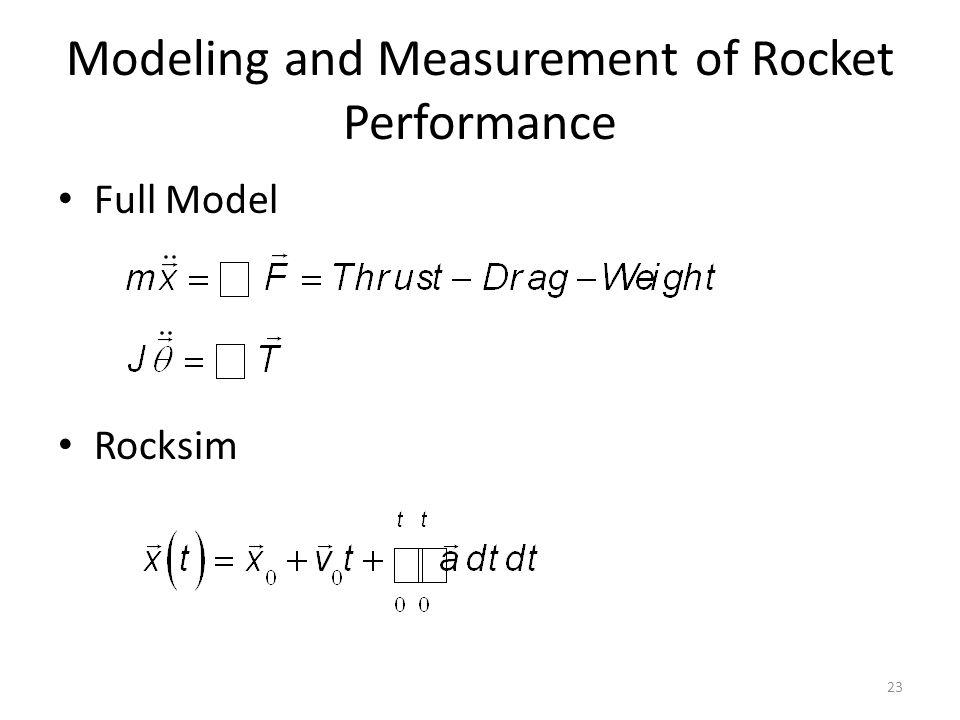 Modeling and Measurement of Rocket Performance Full Model Rocksim 23