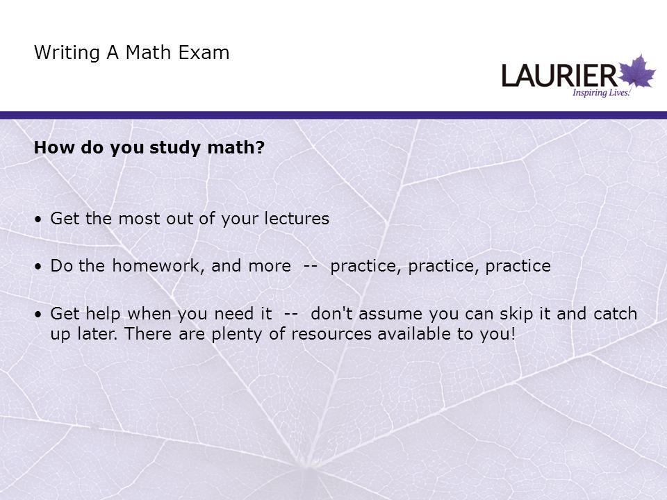How do you study math.