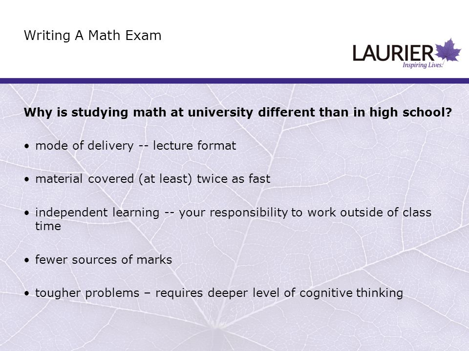 Why is studying math at university different than in high school.
