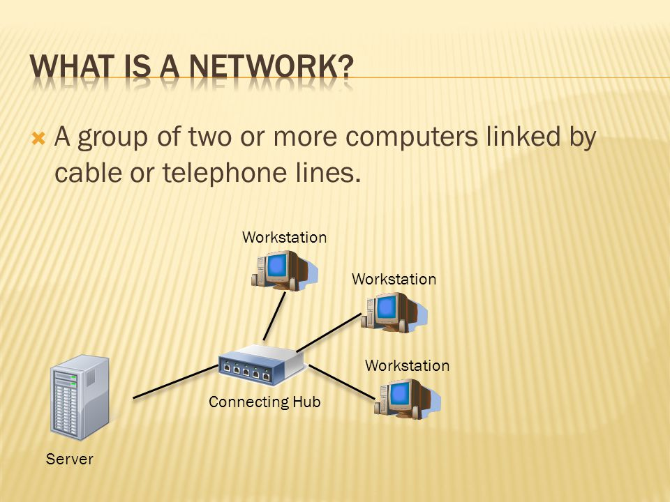  A group of two or more computers linked by cable or telephone lines.