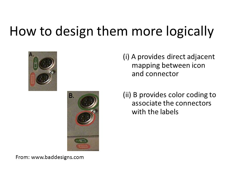 How to design them more logically (i) A provides direct adjacent mapping between icon and connector (ii) B provides color coding to associate the conn