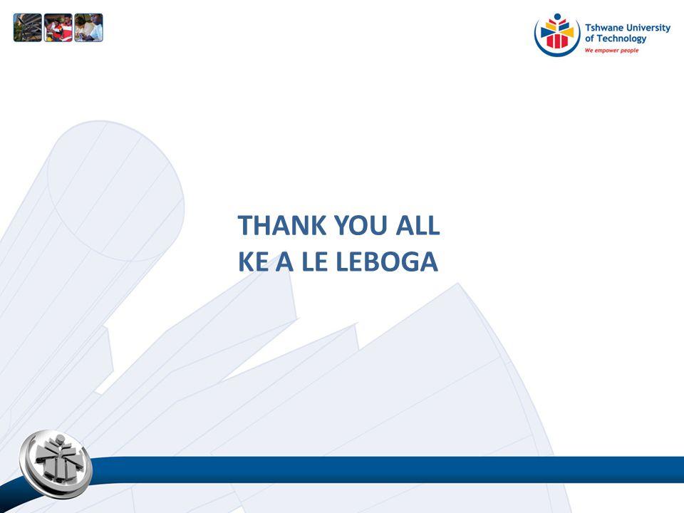 THANK YOU ALL KE A LE LEBOGA