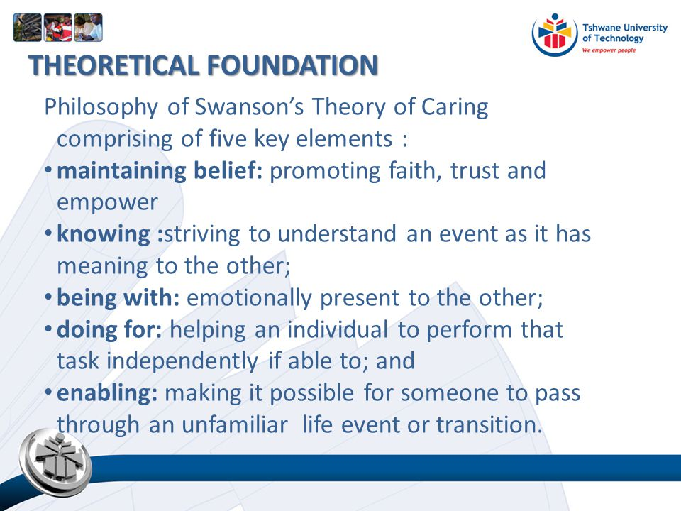 Philosophy of Swanson's Theory of Caring comprising of five key elements : maintaining belief: promoting faith, trust and empower knowing :striving to