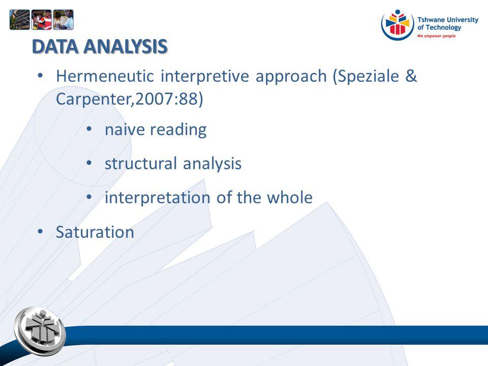 Hermeneutic interpretive approach (Speziale & Carpenter,2007:88) naive reading structural analysis interpretation of the whole Saturation DATA ANALYSI