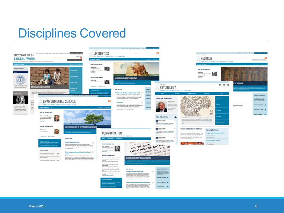 Disciplines Covered March 201516