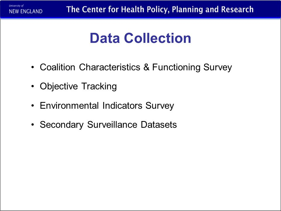 Data Collection Coalition Characteristics & Functioning Survey Objective Tracking Environmental Indicators Survey Secondary Surveillance Datasets